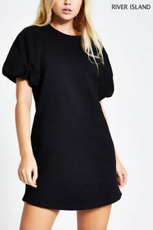 River Island Black Puff Ball Sleeve Sweat Dress