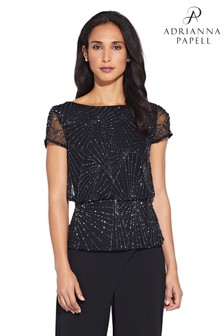 Adrianna Papell Black Beaded Blouson Top