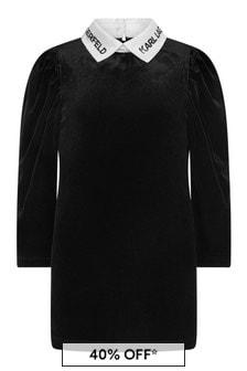 Girls Black Dress With Logo Collar