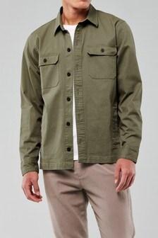 Hollister Olive Zip Through Shirt
