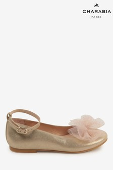 Charabia Gold Bow Ballerina Shoes