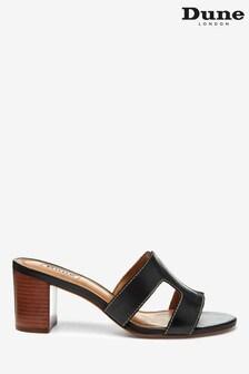 Dune London Joupe Black Leather Smart Slide Heeled Sandals