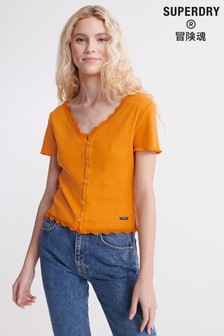 Superdry Lace Trim Pointelle Top