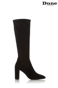 Dune London Black Siren Micro Fibre High Block Heel Toe Boots