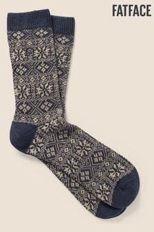 FatFace Blue Fairisle Pattern Boot Socks
