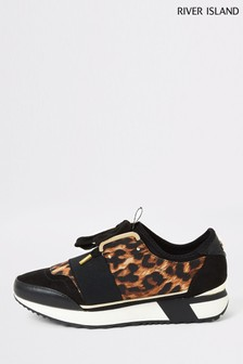 River Island Black Print Lace-Up Trainers