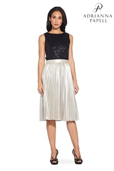 Adrianna Papell Gold Metallic Pleat Skirt