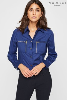 Damsel In A Dress Blue Rearden Zip Pocket Shirt