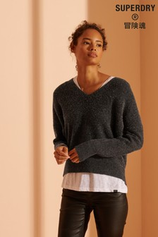 Superdry Charcoal Slouch V-Neck Knit Sweater
