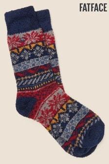FatFace Red Fairisle Pattern Mallory Socks