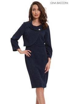 Gina Bacconi Blue Biana Moss Crepe Dress And Jacket