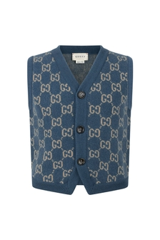 Boys Light Blue Wool GG Vest