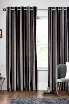 Collection Luxe Velvet Stripe Eyelet Curtains