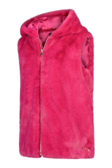 Guess Girls Pink Faux Fur Gilet