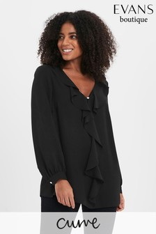 Evans Black Curve Frill Long Sleeve Top