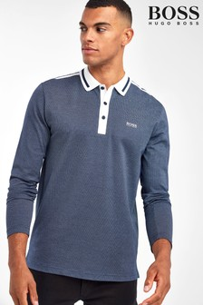 BOSS Blue Plissé Long Sleeve Polo