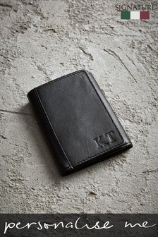 Personalised Signature Trifold Leather Wallet