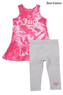 Juicy Couture Pink Tie Dye Twist Back Dress and Legging Set