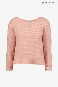 Warehouse Pink Mixed Stitch Jumper
