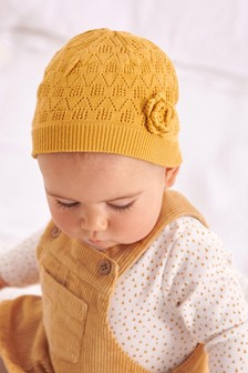 Pointelle Knitted Beanie Hat (Younger)
