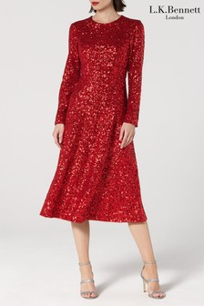 L.K.Bennett Red Lazia Sequin Dress