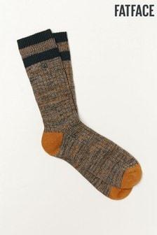 FatFace Green Twist Cotton Boot Socks
