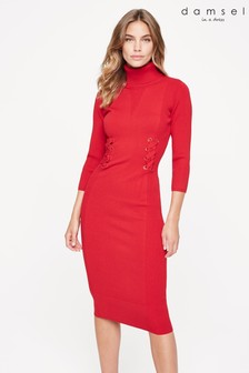 Damsel In A Dress Red Anabel Eyelet Knitted Dress