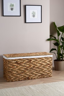 Seagrass Fabric Lined Storage Ottoman