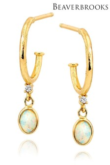 Beaverbrooks 18ct Gold Plated Sterling Silver Cubic Zirconia Opal Drop Earrings