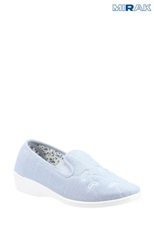Mirak Blue Bessie Twin Gusset Canvas Slip-On Shoes