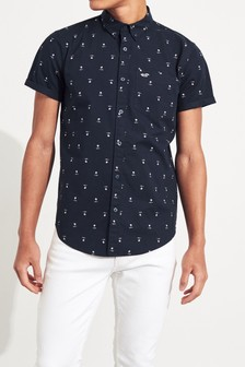Hollister Navy Slim Geo Shirt