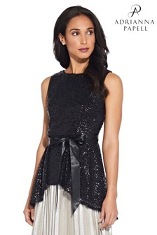Adrianna Papell Black Sequin Blouse