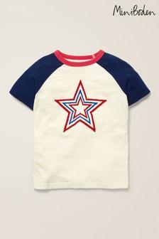 Boden Ivory Textured Star Raglan T-Shirt