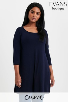Evans Curve Navy Round Neck Swing Tunic