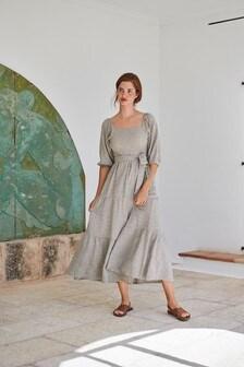 Linen Look Puff Sleeve Midi Dress