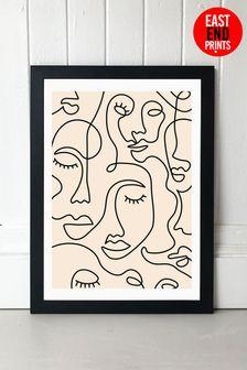 Single Line Faces Print by East End Prints