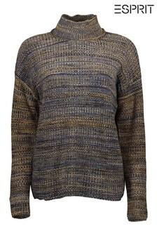 Esprit Blue Multicolour Yarn Sweater With Turtle Neck