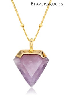 Beaverbooks Gold Plated 18ct Amethyst Pendant