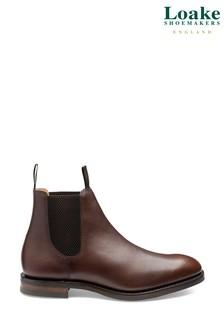 Loake Dark Brown Chatsworth Waxy Leather Chelsea Boots