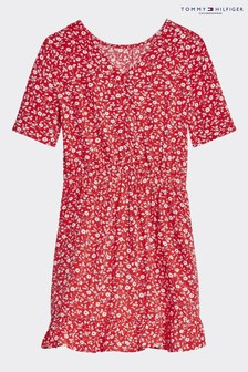 Tommy Hilfiger Red Floral Print Tea Dress