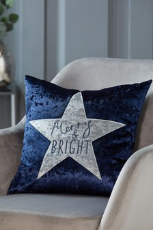 Crushed Velvet Merry & Bright Cushion