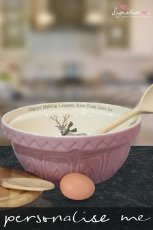 Personalised Folk Deer Pink Mixing Bowl by Signature PG