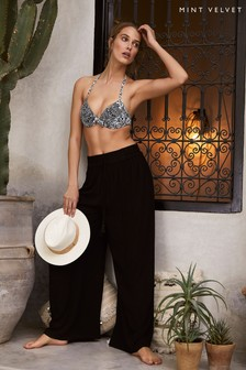 Mint Velvet Black Wide Leg Beach Trousers