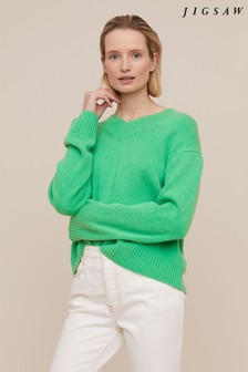 Jigsaw Green Boxy V-Neck Jumper