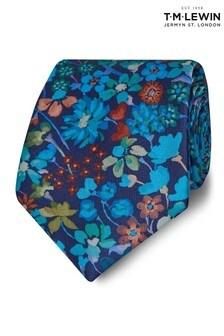 T.M. Lewin Liberty Fabric Wide Blue Dreams Of Belgravia Silk Tie