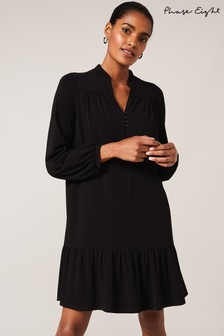 Phase Eight Black Zinnea Button Front Swing Dress