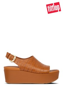 FitFlop™ Brown Eloise Croc-Print Wedge Back-Strap Sandals