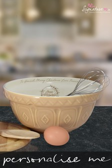 Personalised Merry Christmas Tan Mixing Bowl by Signature PG