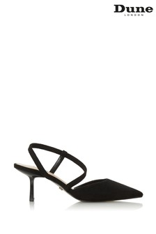 Dune London Colombia Black Suede Asymmetric Pointed Courts