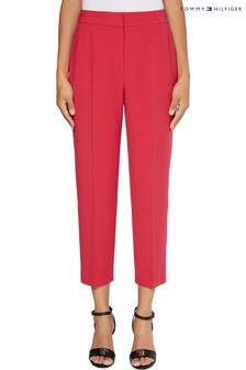 Tommy Hilfiger Pink Poly Twill Tapered Trousers